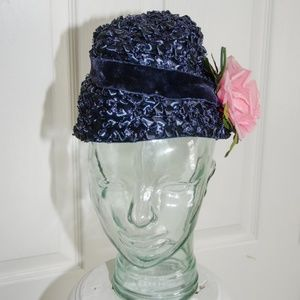 🤡🤡50's Royal Blue Straw Woman's Hat with Flower